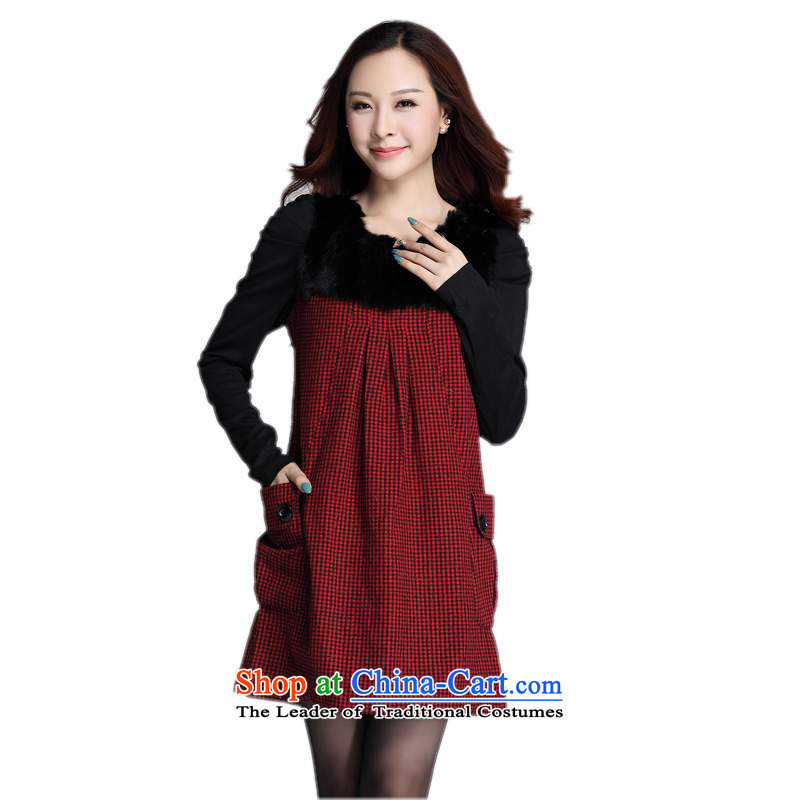 2015 Women's dresses to xl Korean Fine Grid long-sleeved OL of leisure? skirt wool gross winter clothing loose waist video thin, forming the skirt thick m Red�L燼bout 175-190 catty