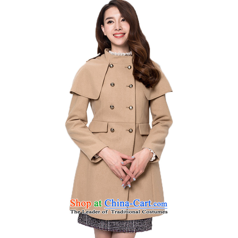 Classic three color for winter handsome cloak the classic design, double-retro in England long coat female light coffee?M_160_84a