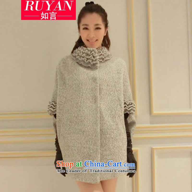 Korea Dongdaemun deviation 2015 Fall_Winter Collections new gross? long coats that large video thin loose bat sleeves cloak? jacket shawl women gross grayXL