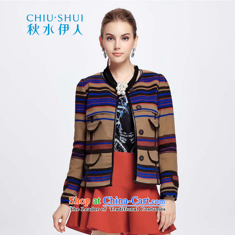 Chaplain who female Stylish retro plane collision-STRIPE OL wind short coats�42S120041牋170_XL Beige Brown