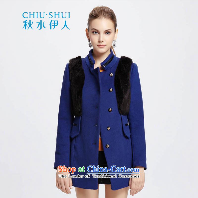 Chaplain who winter clothing new stylish fluff Kampala shoulder stitching decorated coats 1342C121211 gross? blue�5_L