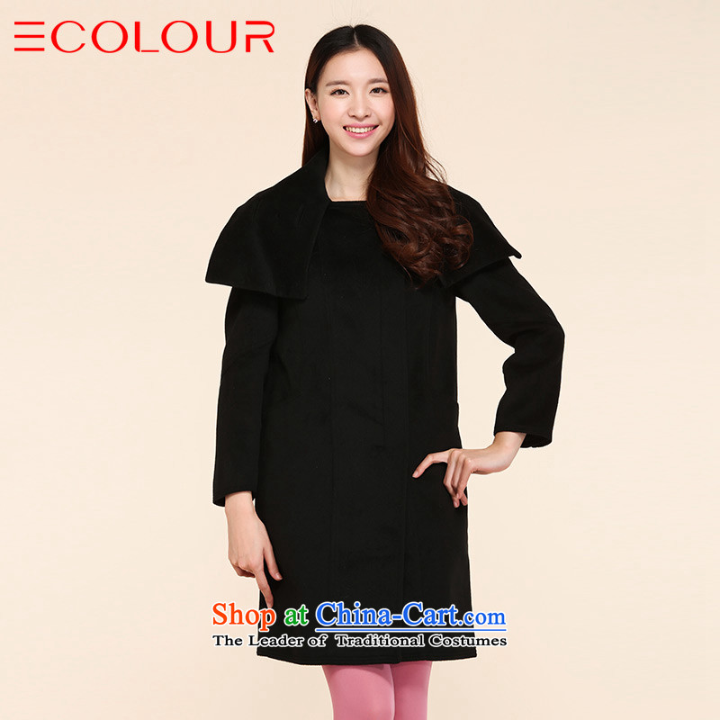 Classic three color handsome large roll collar preferred gross?-video thin loose in a long coat female black L_165_88a