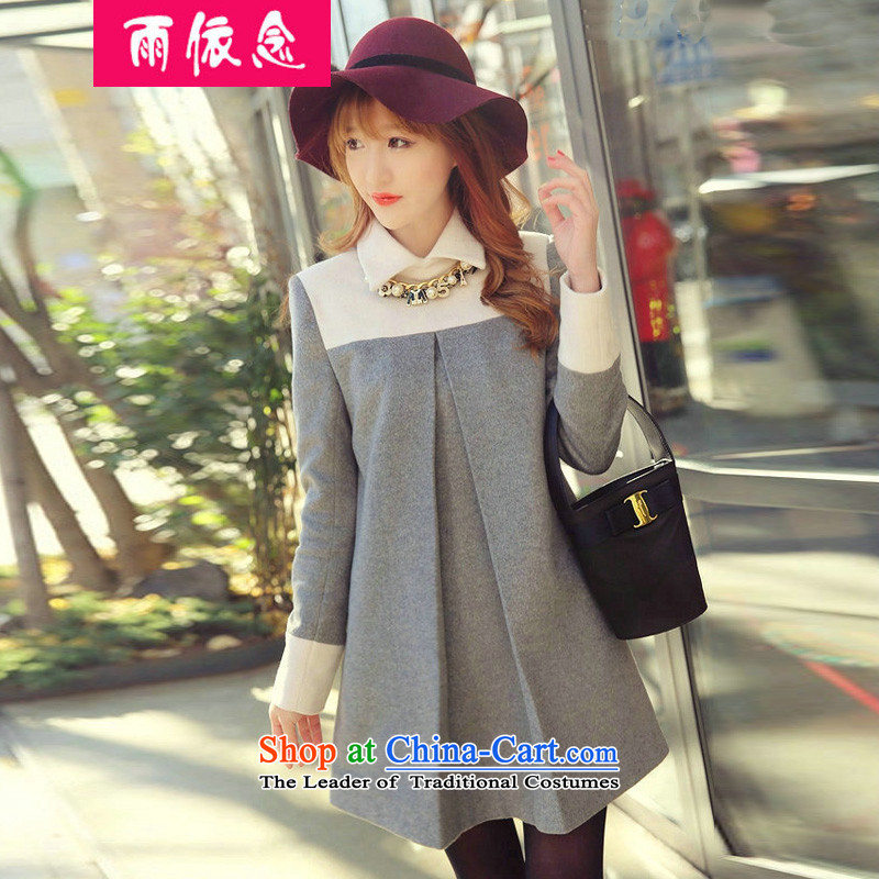 In accordance with the concept of rain�15 winter new Korean version of large numbers of ladies loose stamp in long long-sleeved dresses�23燤ap Color燲L