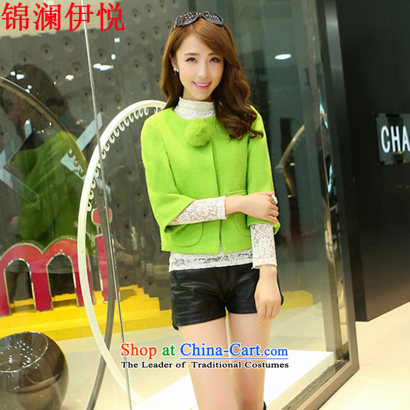 The world of Kam Yuet 2015 sweet Sau San round-neck collar 7 Cuff pocket dolls large relaxd Top Loin of wool a short) round-neck collar gross jacket Fluorescent Green L?
