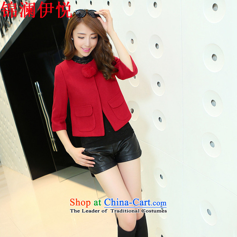 The world of Kam Yuet 2015 autumn and winter load new women's sweet gentlewoman temperament Korean thin 7 Graphics Sau San Cuff pocket short of lovely washable wool a large red jacket燣