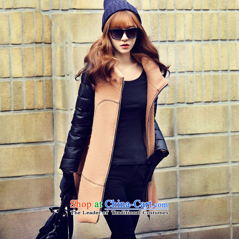 In the stitching long hair loose and deep color jacket?S