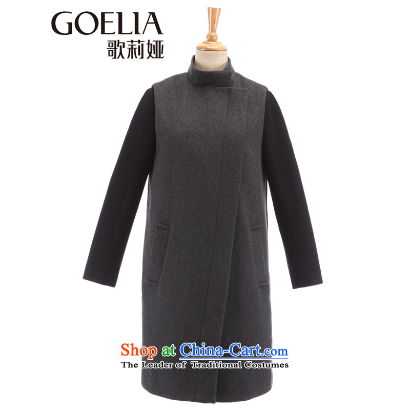 Song Leah GOELIA winter new two kits long jacket material_? 14NJ6E11B B36_ deep flower L_165_88a_ Gray