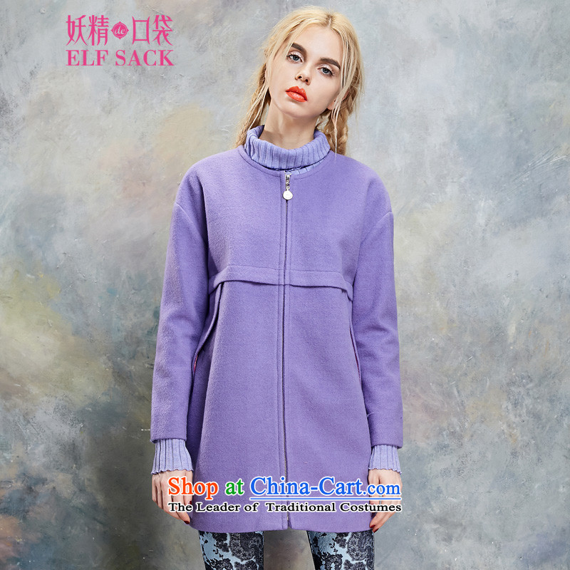 The pockets of witch humor STORM聽2015 spring outfits pockets round-neck collar coats聽1432127 gross?聽Plum Purple聽M