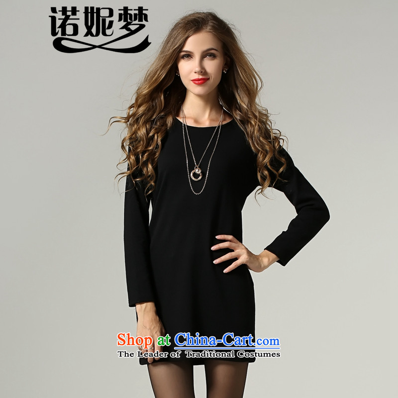The Ni dream new_ Autumn 2015 Europe to increase women's code thick mm temperament minimalist Foutune of long-sleeved dresses s205 Black XL