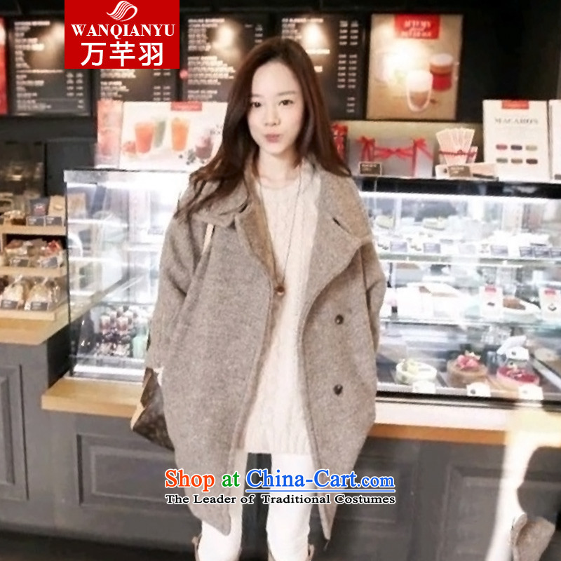 The Constitution of?2015 autumn and winter feathers new Korean jacket coat girl in gross? long loose lapel windbreaker gross? female?MN12?picture color jacket?M