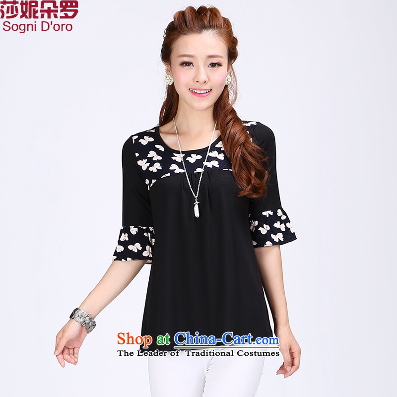 Shani flower lo xl female thick mm summer round-neck collar bow tie stamp graphics thin loose T shirt with 67,640,000 black 2XL