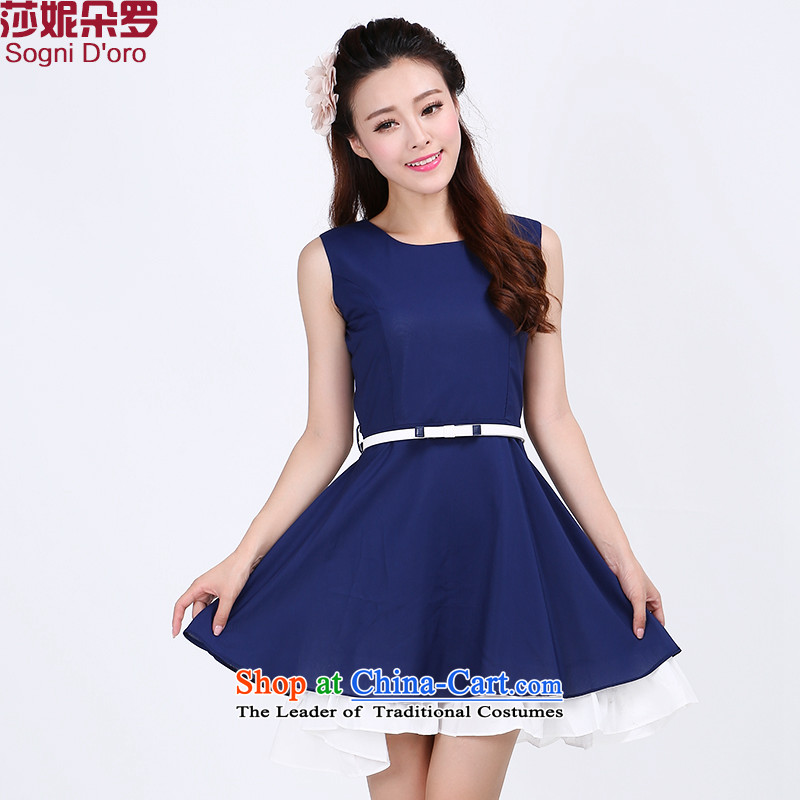 Shani flower, 2015 New to increase women's code thick mm summer word for the chiffon Sau San dresses 6,765 families exited dark blue 4XL