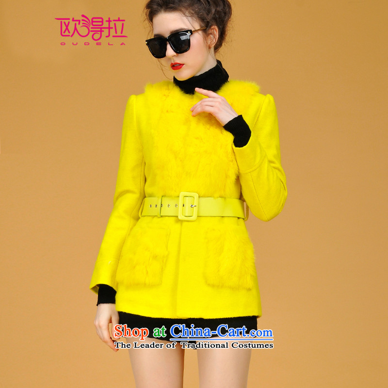 The Korean version of the OSCE rabbit hair in the stitching long wool coat N4020 YellowS?