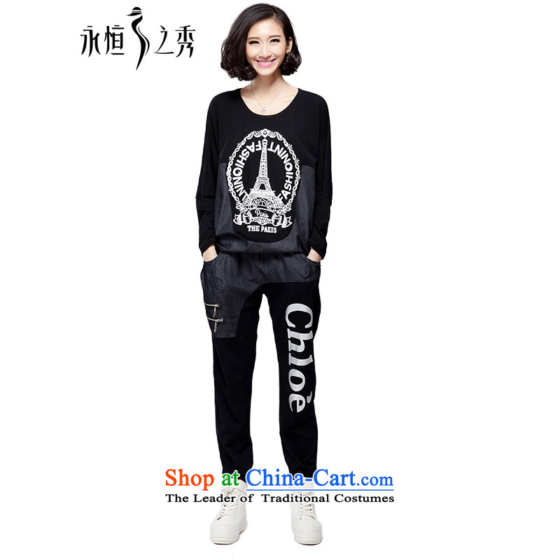 The Eternal-soo to xl ladies casual sports wear thick sister autumn 2015 new products, Hin fat mm thick thin tee trouser press kit two black 3XL_140 catty - 160 catties through_