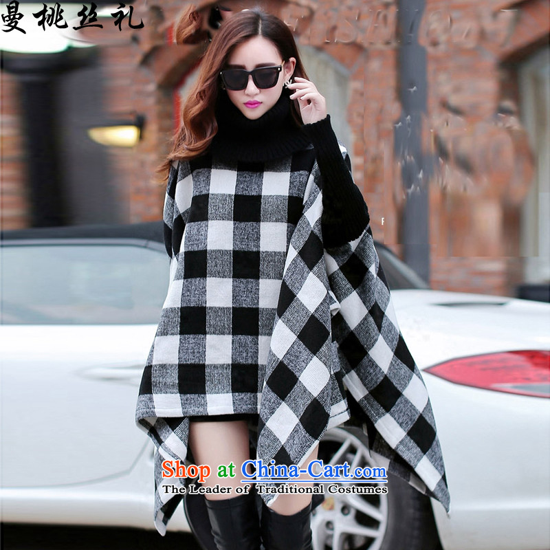 Cayman commercial silk ceremony? coats female Europe gross stylish black-and-white checkered stitching knitting temperament cloak frock coat female picture color code
