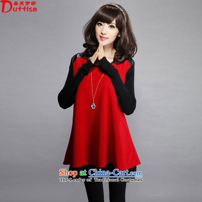 Flower to Isabelle 2015 autumn and winter new Fat MM to xl loose knitting stitching forming the long-sleeved dresses D7320 female Red 4XL