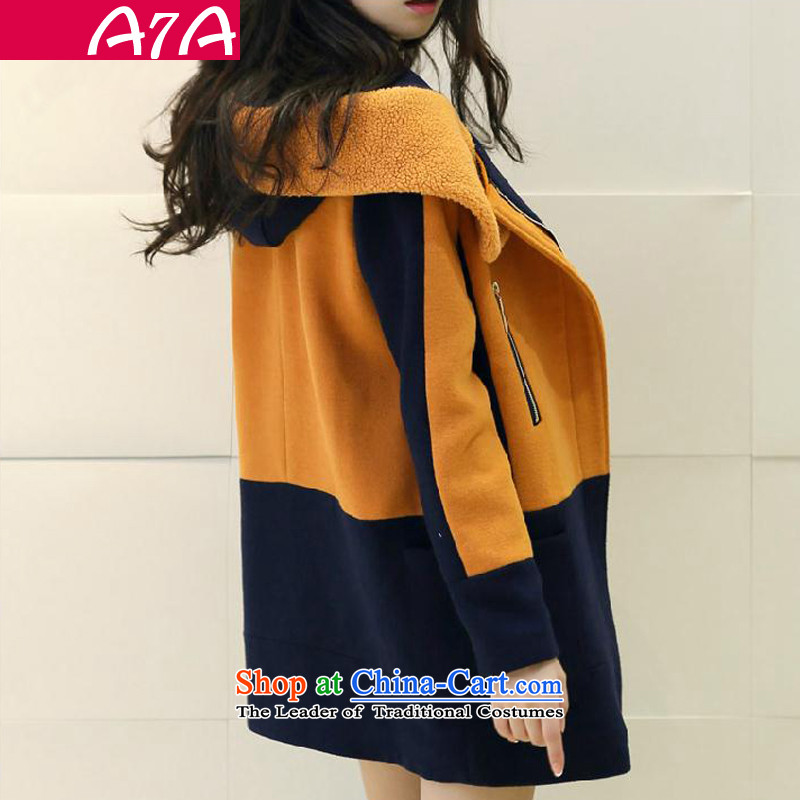New Spring and Autumn A7A2015 gross jacket version won? long for women Lamb Wool coat female jacket? orange燤 code