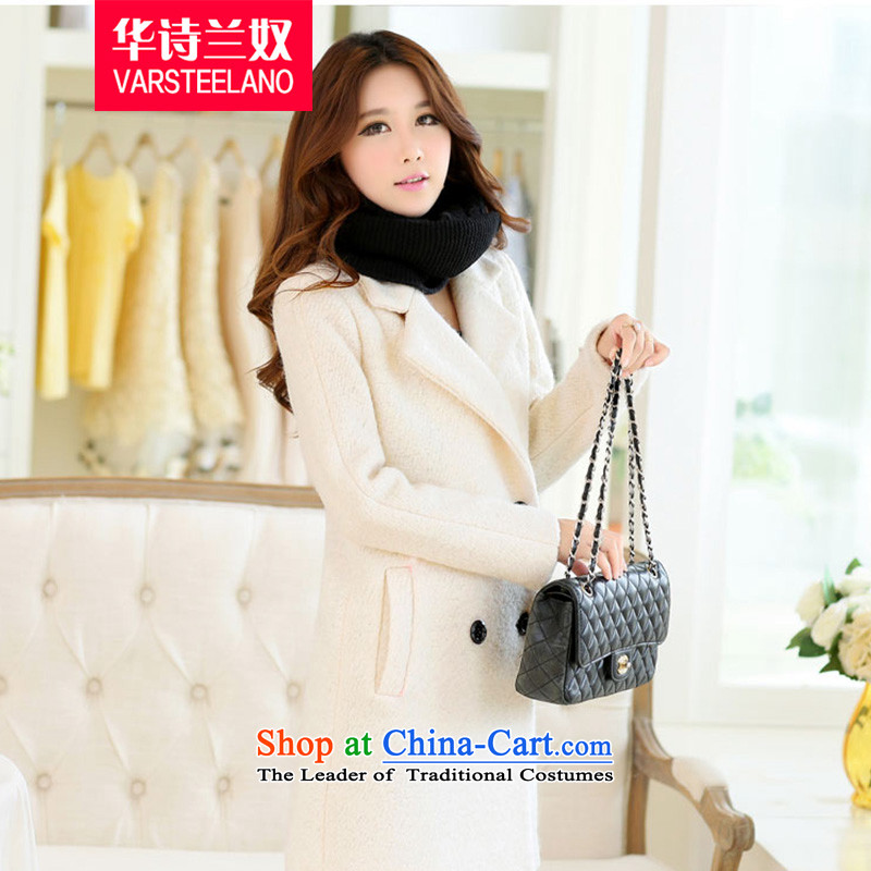 China, slave 2015 winter clothing new larger women's gross? jacket a wool coat S367 female m White L