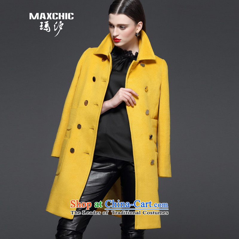 Marguerite Hsichih maxchic 2015 autumn and winter new women's suit for double-wool coat in the long hair? 13572 13562 Female coats yellowL