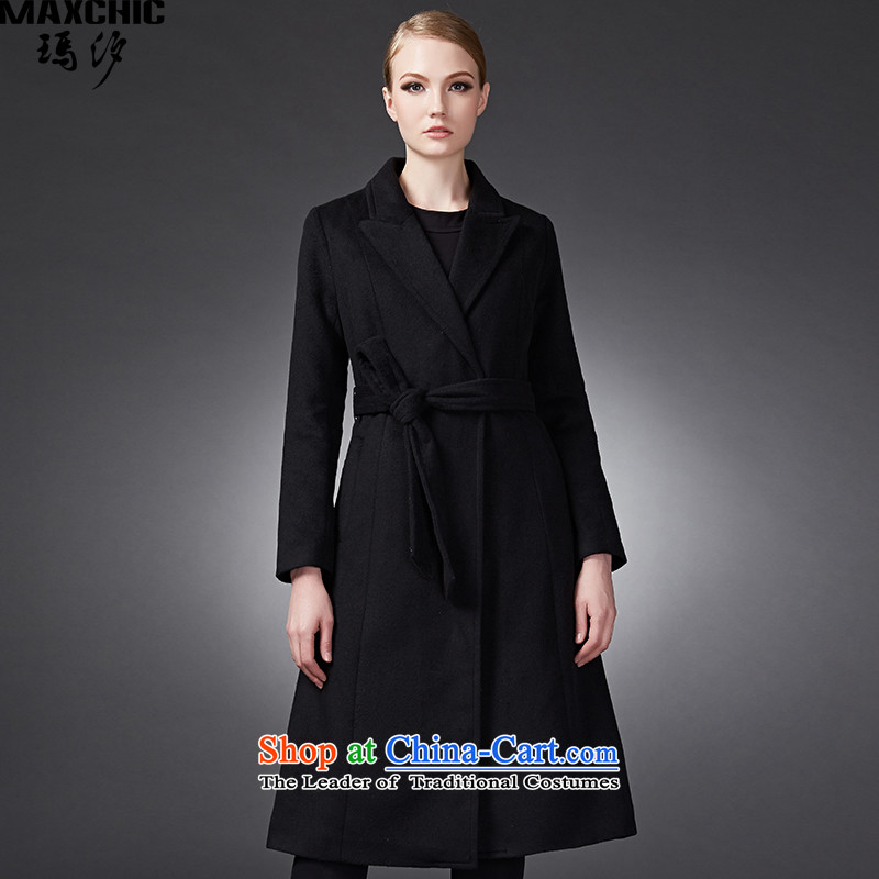 Marguerite Hsichih maxchic 2015 Ms. autumn and winter clothing for long-sleeved wool rib cage-Tether in long coats delivers gross? female 13672 black?L