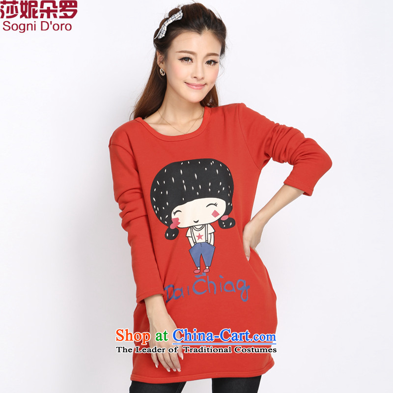 Shani Flower Lo 2015 XL women Fall/Winter Collections new sweater thick sister thick plus long campaign in lint-free Korean female 4025th red T-shirt 4XL