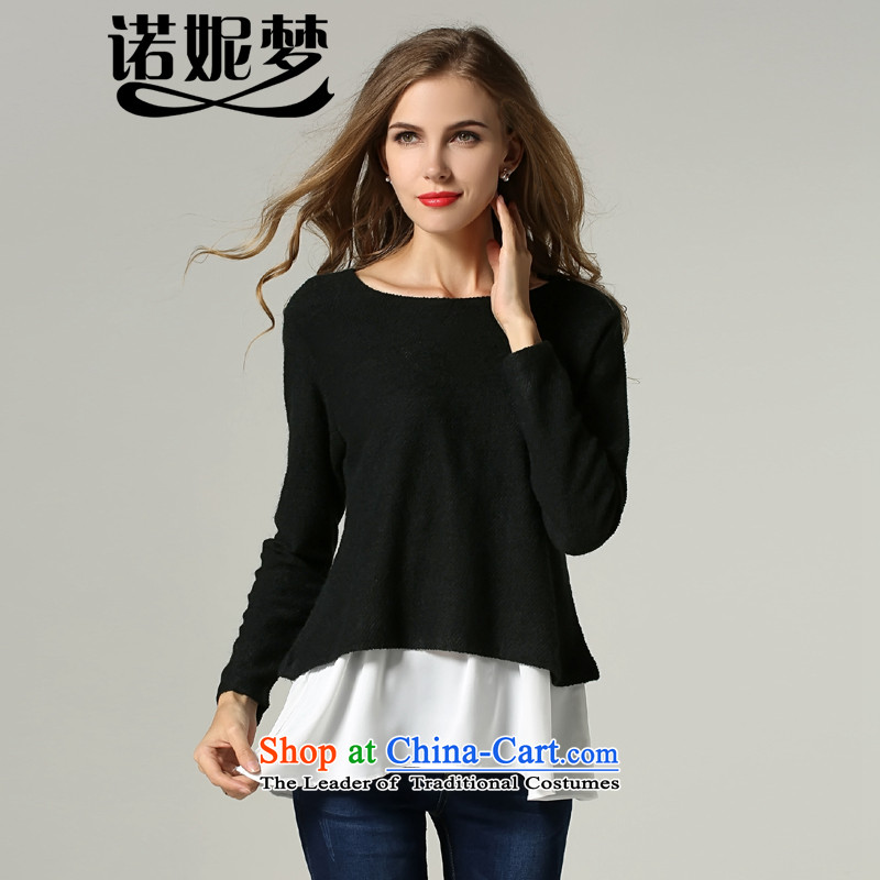 The Ni dream new) Autumn 2015 Europe to increase women's code thick mm leave two stitching forming the liberal knitwear T-shirt s206 black XXL