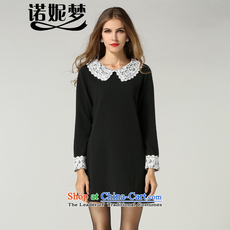 The Ni dream new_ Autumn 2015 Europe to increase women's code thick mm temperament sweet lace collar loose video thin long-sleeved dresses s209 Black燲L