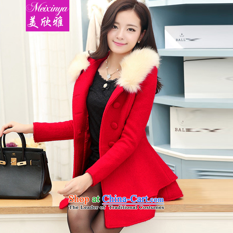The United States welcomes the ya  2015 autumn and winter female Korean fashion, with long hair for Lotus is gross jacket coat JTYL9971? The RedL