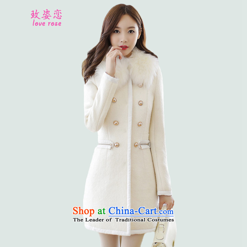 In 2014 Winter Land position on the new girls jacket coat Korean version of this autumn and winter coats in replacing gross? long hair for Sau San woolen coat female white overcoat so gross燲L