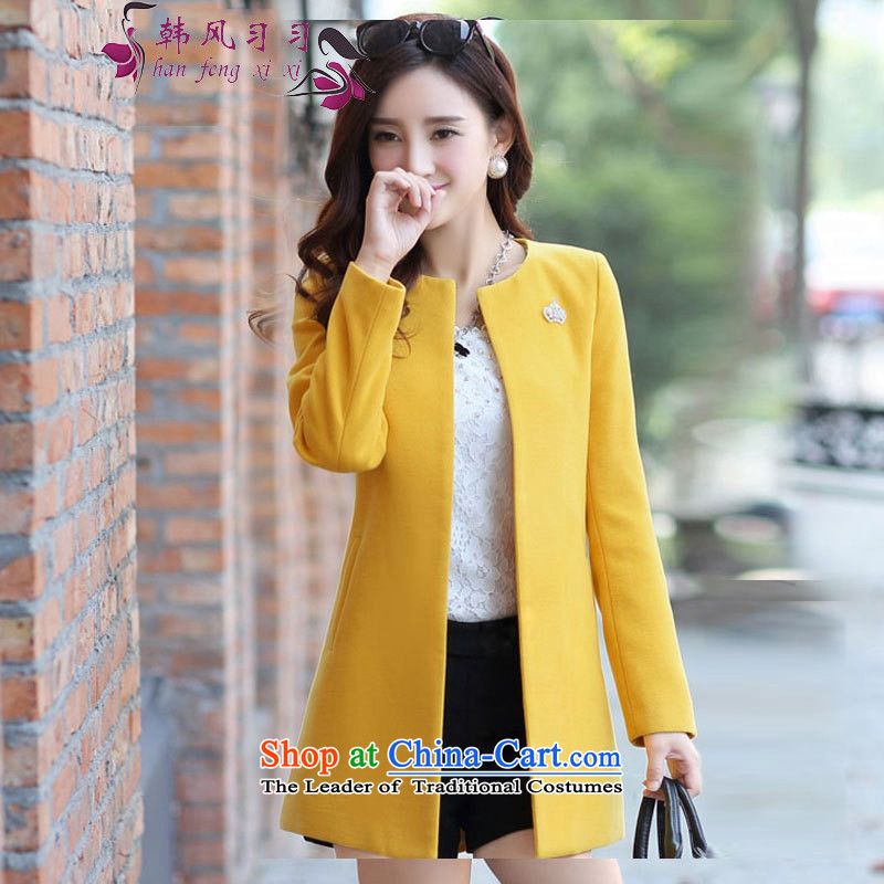 Korea Breeze?2015 early winter coats? New Gross Korean version of large numbers of women in the long winter coats_? female cardigan 129 yellow?L