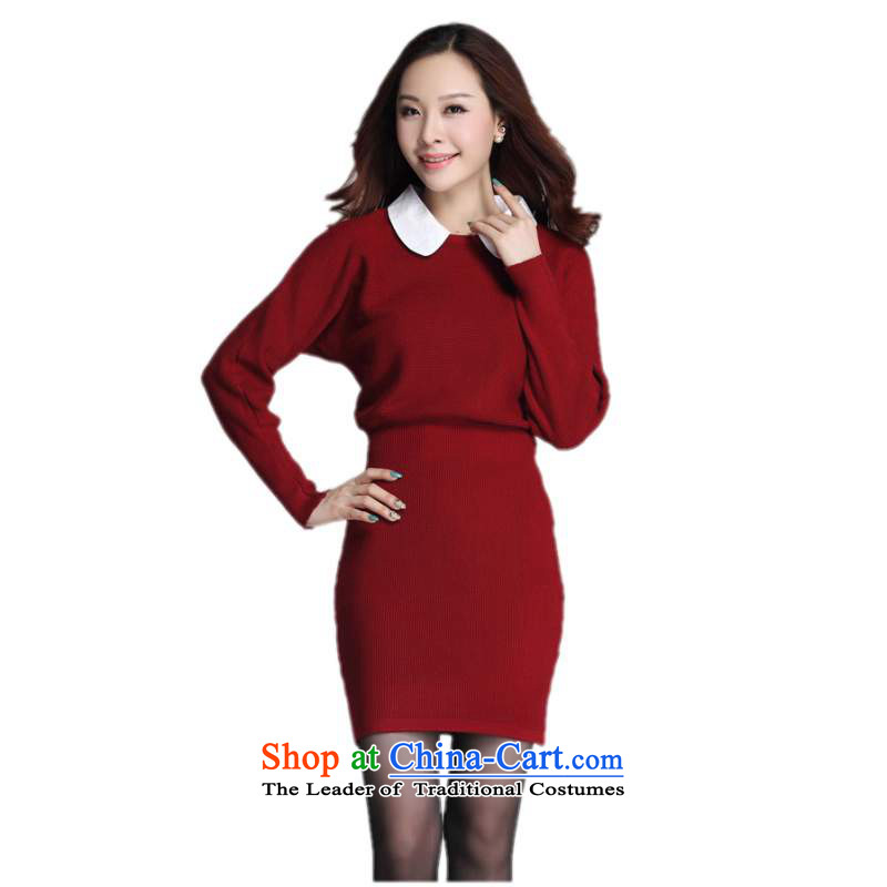 C.o.d. plus hypertrophy Code women's dresses 2015 Fall_Winter Collections of the new Europe and the elegance of the bat long-sleeved sweater lapel package and skirt thick Mei skirt around 125-145 red XL catty