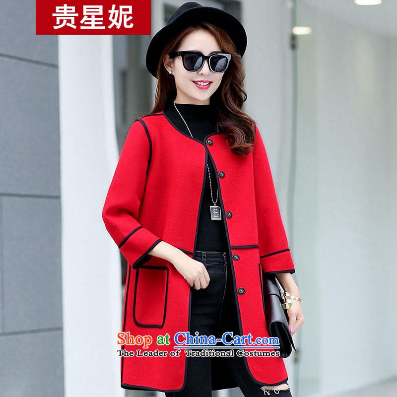 The Star Ni straight loose video thin hair? No score of 9 for coat cuff stylish stitching autumn 2015 new Korean female red windbreaker燲L