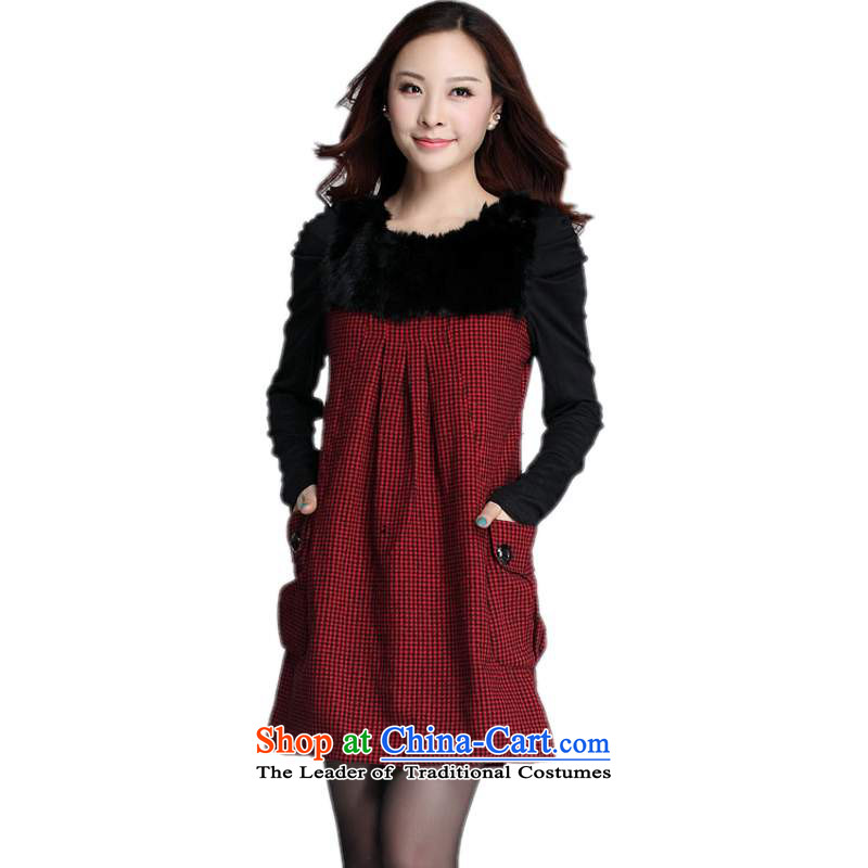 Thick employed by the women's code hypertrophy dresses 2015 Fall_Winter Collections new OL temperament Maomao for long-sleeved gross? Plaid Short skirt relaxd waist Red 4XL around 922.747 180