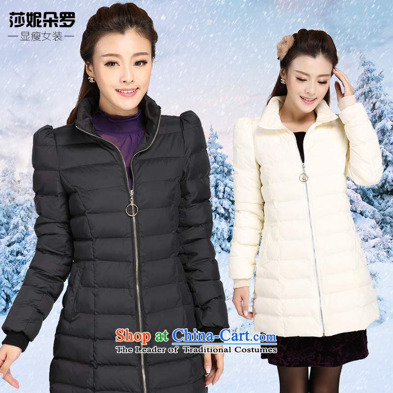 Luo Shani flower code women cotton coat female thick sister autumn and winter jackets to intensify the cotton-padded coats coats Korean female 4038 loose Athens 6XL black