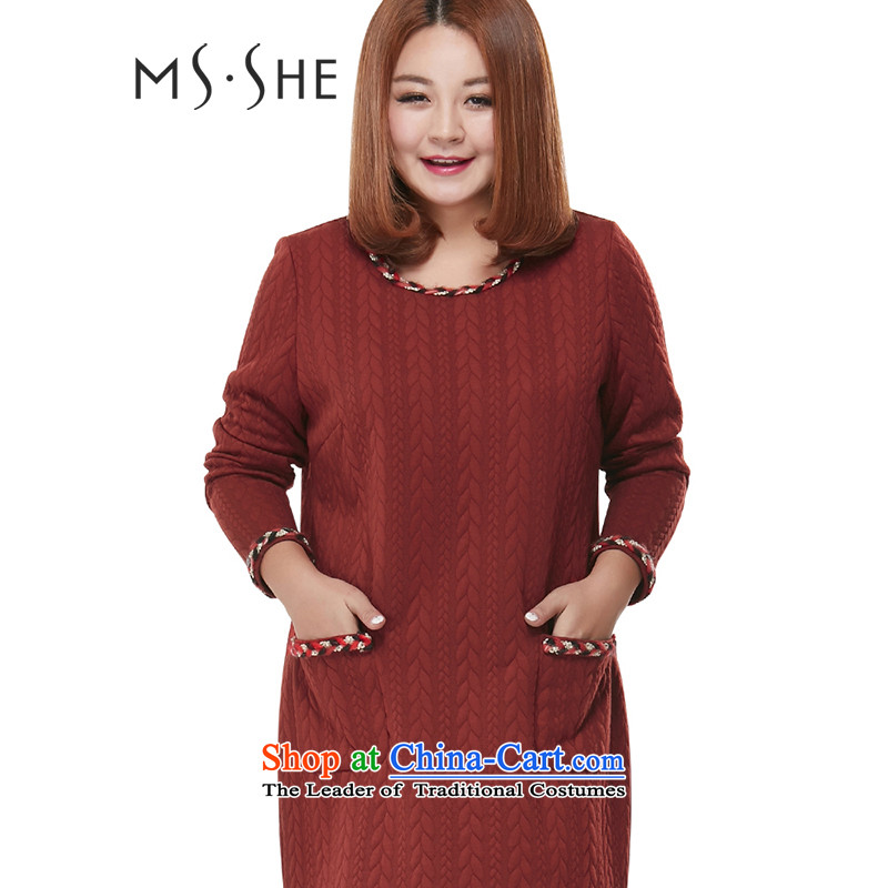 Msshe xl women 2015 autumn and winter new round-neck collar lace package and in forming the long sleeved clothes 2097 2666 4289 XL