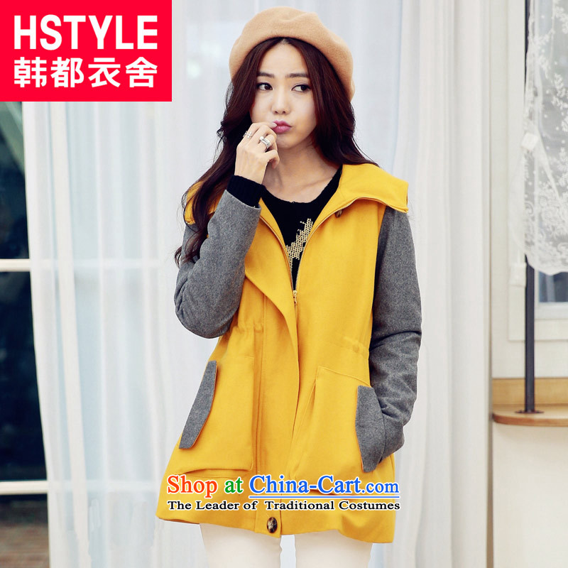 Korea has the Korean version of the Dag Hammarskjöld yi 2015 winter clothing new for women with a video thin stitching Sau San Mao jacket OR3268?6. Yellow M