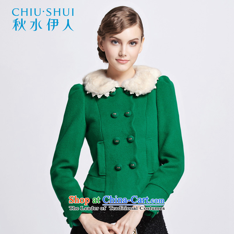 Chaplain who winter clothing new women's sweet Lady wave, double-edge can be shirked gross collar short coats1341F120202175/XXL green