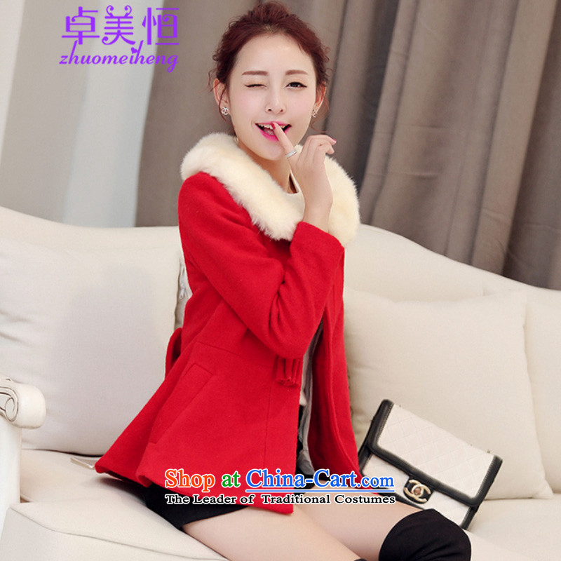 Zhou Mei Hang 2015 autumn and winter new Korean short of the amount paid?   thick hair so jacket coat women 1838 RED M