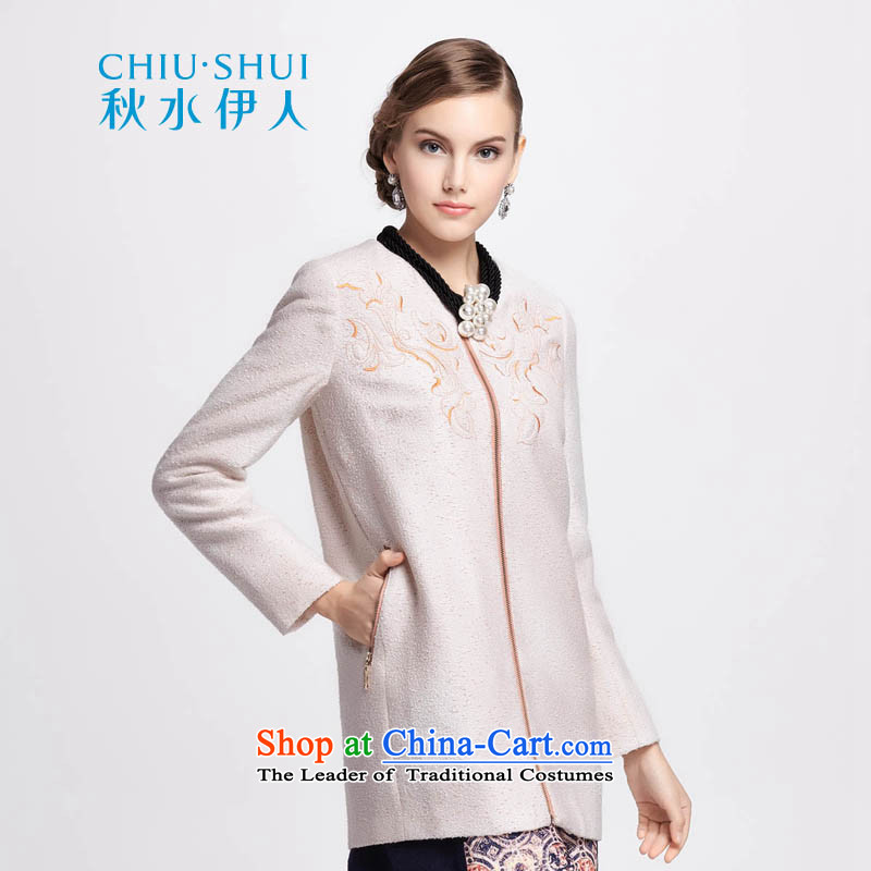 Chaplain who winter clothing new women's refined and elegant continental embroidery coarse wool terylene overcoats聽1341F122237 auricle-聽beige聽175_XXL