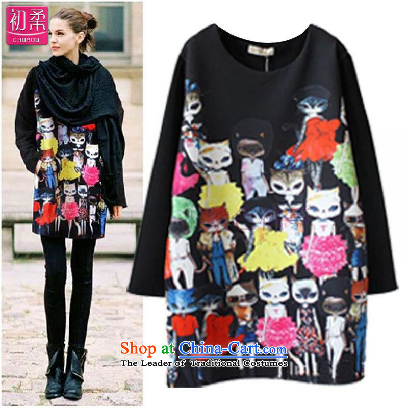 Thick sister mm plus CHUROU fertilizer xl women in spring and autumn 2015 replacing the new big minimalist wild black skirt suits, forming thecatty XXL140-165