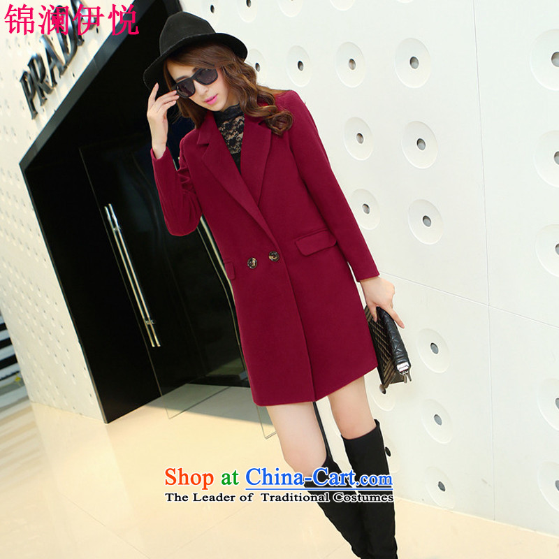 The world of Kam Yuet autumn and winter new graphics thin coat and color Sau San suit coats female presence among the gross? elegance. Long Big Star Ni sub-version yi 2666 4289燤