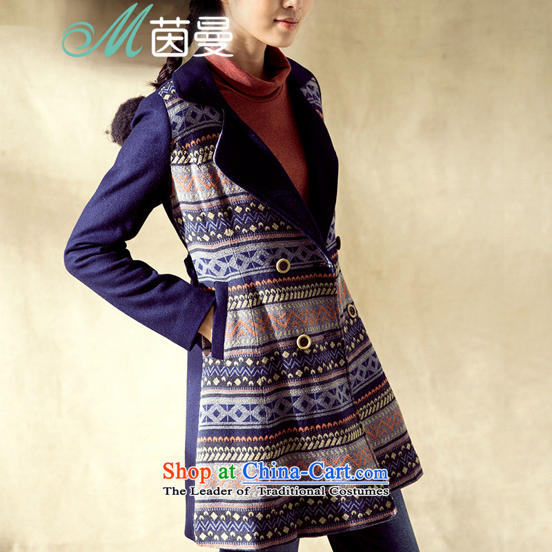 Athena Chu Cayman2014 winter clothing new color plane collision national jacquard splice belt thin coat elections? graphics 8443200205- Sapphire Blue deepL