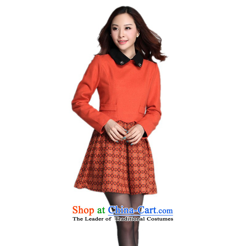 C.o.d. Package Mail thick mm xl dresses 2015 Fall/Winter Collections of the new Korean lapel stitching long-sleeved gross skirt commuting? forming the OL skirt orange4XL around 922.747 180