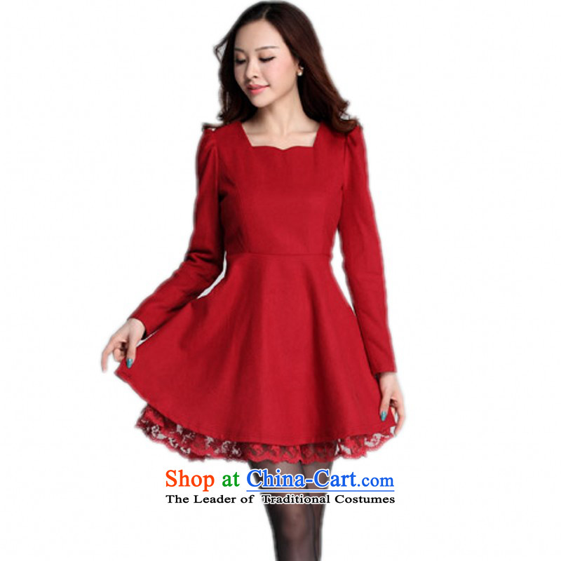 C.o.d. plus obesity mm long commuting yi XL 2015 skirt the new autumn replacing elegance is poised for video thin OL, forming a short skirt燼round 155-170 3XL red catty
