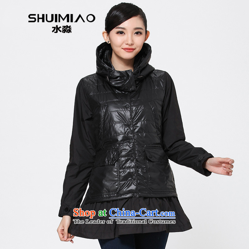 The representative of the water for larger female thick winter 2014 mm Korean cotton coat thin cotton shirts, forming the basis of folder S14DU4209 carbon black XXL