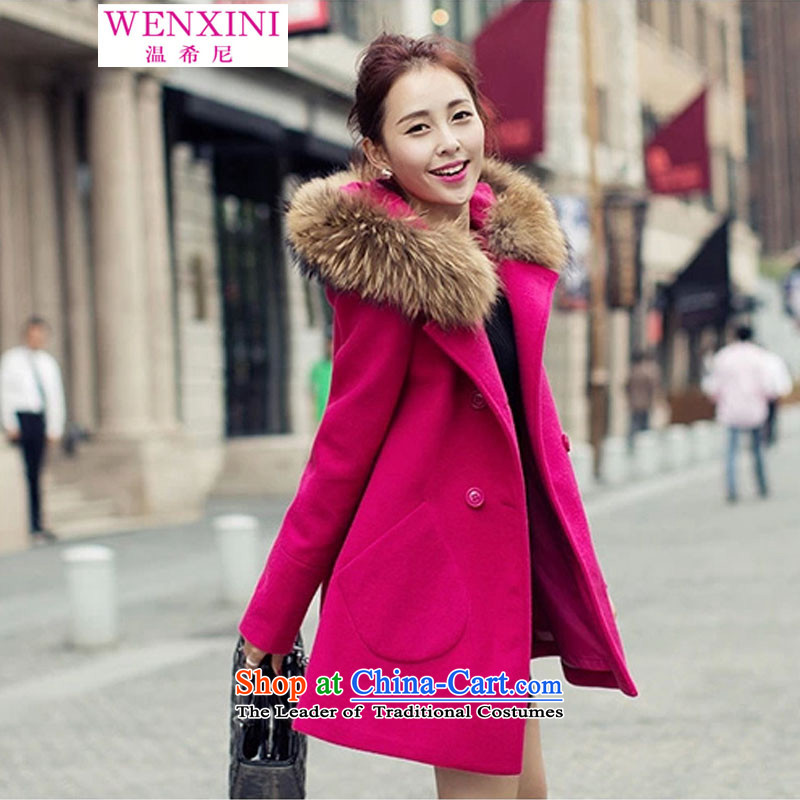 The temperature of the Greek Goddess of the 2015 autumn and winter coats women so gross van double-jacket Korean version of female jackets for larger women in red XL