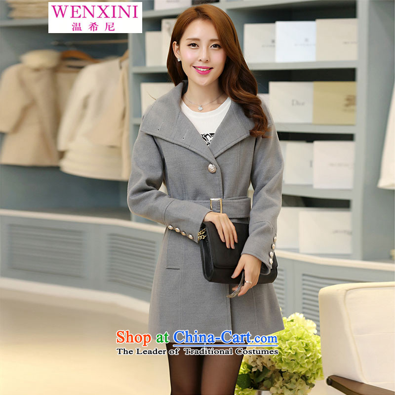 Temperature,2015 Fall_Winter Collections a wool coat female Korean version in the Sau San gross? long overcoat light grayS