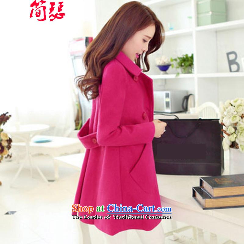 In short Josephautumn and winter 2015 new women's gross Korean? coats that long lapel Connie sub-coats of gross? jacket red XXL