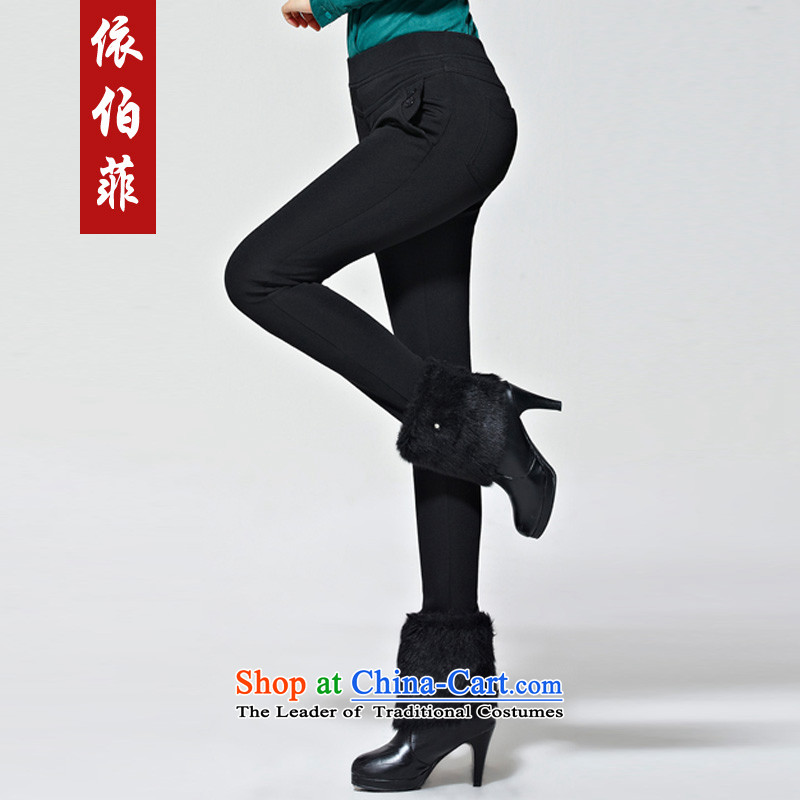In accordance with the 2014 Winter new Korean version plus lint-free warm Top Loin of thick female trousers video thin large Castor, forming the trousers, pants Y281 wearing black XXL