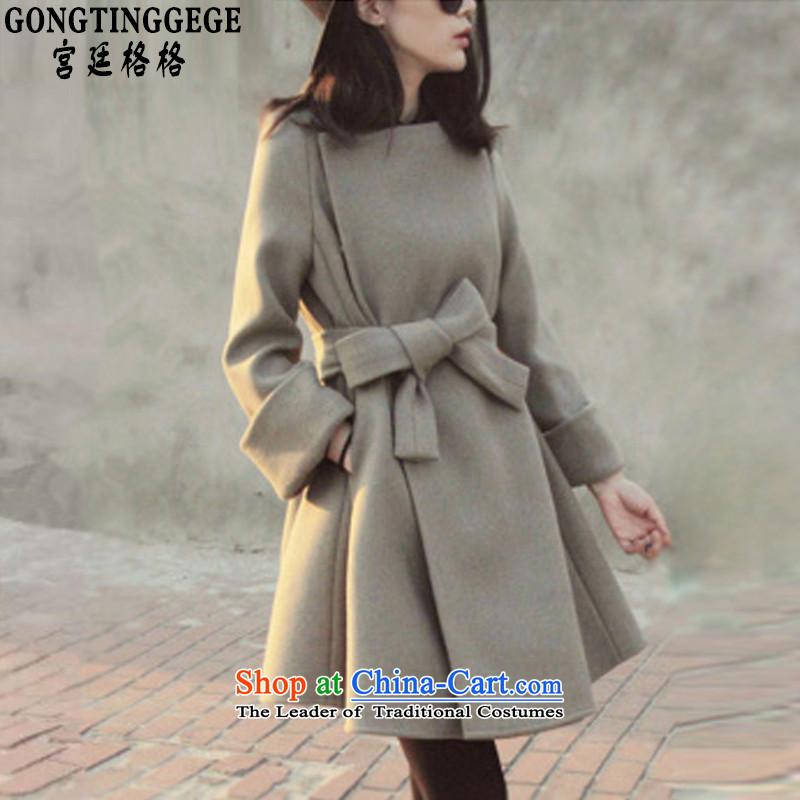 The interpolator palace gross? jacket women 2015 Fall_Winter Collections new Korean version of large numbers of women who are graphics thin foutune tether in long wool a wool coat girl and Color� M